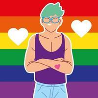 uomo con bandiera del gay pride sullo sfondo, lgbtq vettore