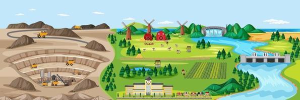 paesaggio di miniera di carbone e terreni agricoli vettore