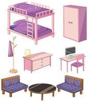 oggetti per mobili da letto vettore