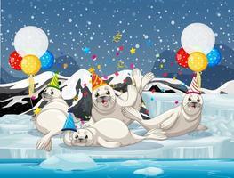 gruppo di foche nel personaggio dei cartoni animati a tema del partito sullo sfondo dell'antartide