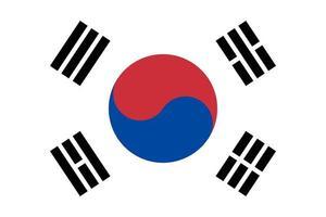 bandiera isolata della corea del sud