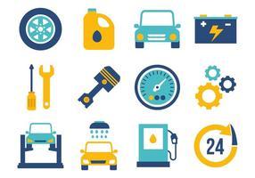 Vettore piano delle icone di manutenzione dell'automobile