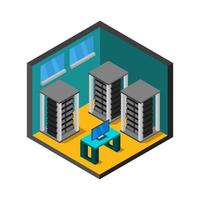 sala server isometrica su sfondo bianco vettore