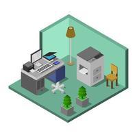 stanza ufficio isometrica vettore