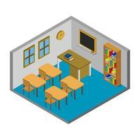 aula scolastica isometrica vettore