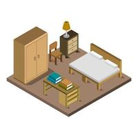 camera da letto isometrica su sfondo bianco