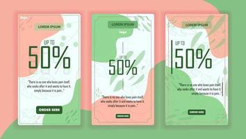 imposta la storia di Instagram per affari con piena di colori vettore