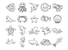 impostare le icone per lo stile della linea degli animali marini vettore