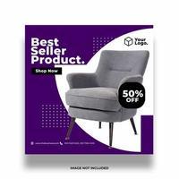 banner di vendita di mobili viola e bianchi vettore