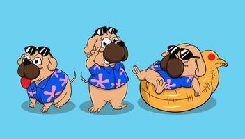 set cane simpatico personaggio dei cartoni animati vettore