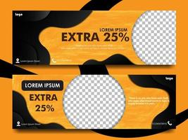 impostare il design del banner con colore arancione e nero vettore