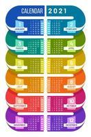 modello di calendario infografica 2021