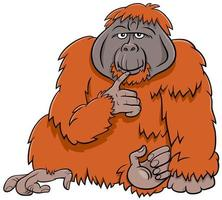 illustrazione di cartone animato animale selvatico scimmia orangutan
