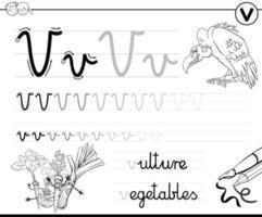 impara a scrivere la lettera v cartella di lavoro per i bambini vettore