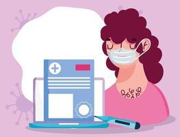 concetto di assistenza sanitaria online con paziente malato