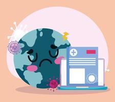 concetto di assistenza sanitaria online con mondo triste vettore