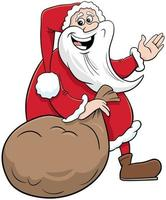 personaggio di Babbo Natale con sacco di regali vettore