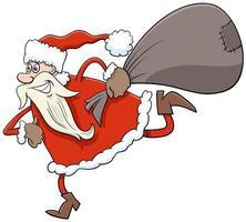 personaggio natalizio di babbo natale con sacco di doni vettore
