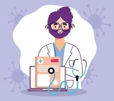 concetto di visita medico online con medico e laptop vettore