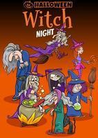 disegno del manifesto del fumetto di festa di Halloween con le streghe