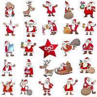 grande set di personaggi dei cartoni animati di Natale vettore