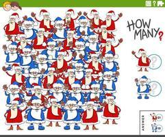 conteggio dei personaggi con clausole di Babbo Natale compito educativo per i bambini