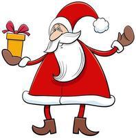 personaggio dei cartoni animati di Babbo Natale con regalo di Natale vettore