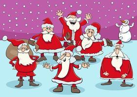 gruppo di Babbo Natale nel periodo natalizio