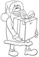Babbo Natale con grande presente pagina del libro da colorare vettore