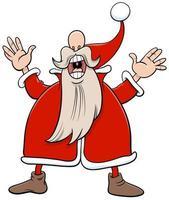 Babbo Natale personaggio dei cartoni animati di Natale che canta un canto natalizio vettore