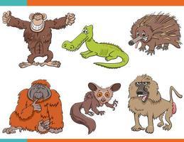 set di personaggi dei cartoni animati divertenti animali selvatici