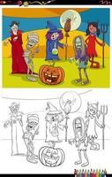 Cartoon halloween caratteri gruppo pagina del libro da colorare vettore