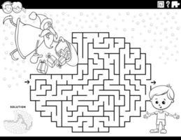 gioco del labirinto con la pagina del libro da colorare di Babbo Natale