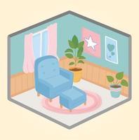 accogliente interno di casa con mobili e piante vettore