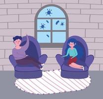 coppia seduta su sedie al chiuso vettore