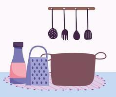 composizione di utensili da cucina vettore