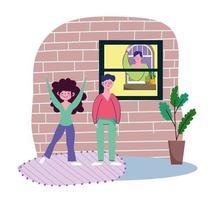 coppia che guarda un vicino fuori dalla finestra