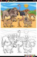 Pagina del libro da colorare di gruppo di animali divertenti del fumetto vettore