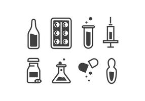 Fiala medica e pillola icona vettori