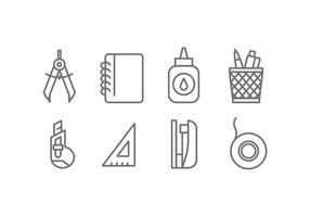 Icone di vettore dello strumento di ufficio