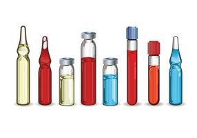 Set di diverse fiale mediche su sfondo bianco