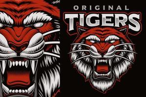 emblema mascotte colorato con tigre ruggente vettore