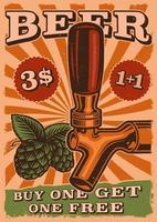 poster di birra vintage con birra alla spina e luppolo vettore