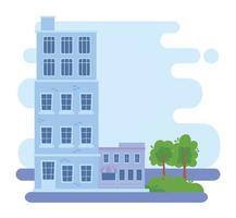 paesaggio urbano con edifici e alberi vettore