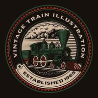 emblema rotondo colorato con un treno retrò vettore