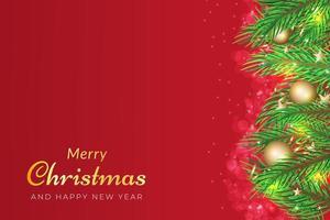 sfondo di Natale con rami di albero e ornamenti dorati vettore