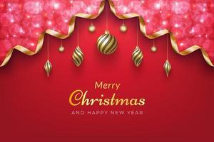 sfondo di Natale con scintillante nastro d'oro e ornamenti