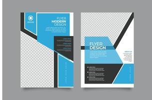 design moderno modello di volantino aziendale blu e grigio vettore