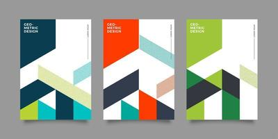 set di copertine geometriche colorate per la relazione annuale vettore
