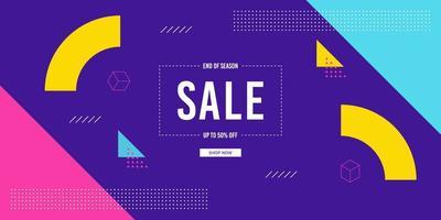 vendita di banner di vendita di fine stagione geometrico colorato luminoso vettore